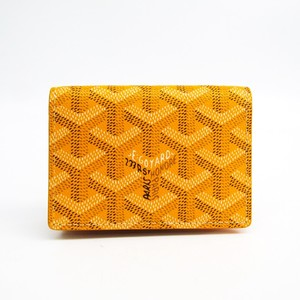 Goyard Canvas Leather Business Card Case Yellow Malesherbes