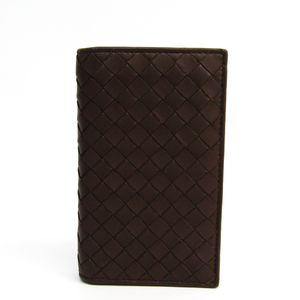 ボッテガ・ヴェネタ(Bottega Veneta) イントレチャート レザー カードケース ブラウン