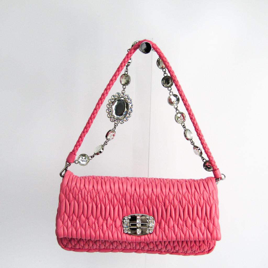 622641be22ca Details about Miu Miu Matelasse NAPPACRISTAL RP0233 Women s Leather Handbag  Pink BF325112