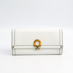 Salvatore Ferragamo Gancini JL-22 7126 Women's Leather Long Wallet (bi-fold) White