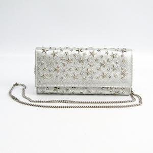 Jimmy Choo MILLA Women's Leather Studded Chain/Shoulder Wallet Silver