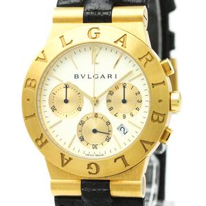 【BVLGARI】ブルガリ ディアゴノ スポーツ クロノグラフ K18 ゴールド レザー クォーツ メンズ 時計 CH35G
