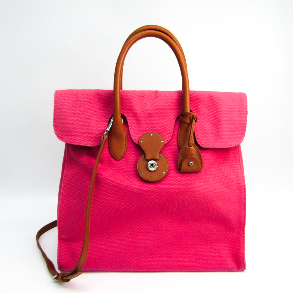 c60d0880d645 top quality ralph lauren ricky womens leathercanvas handbagshoulder bag  brownpink c6941 8c9ed
