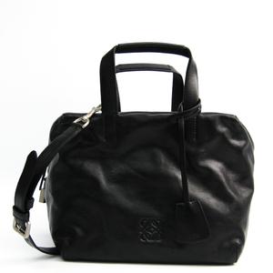 Loewe 359.22.J20 Origami Cubo Women's Leather Handbag Black