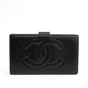 Chanel A13498 Women's  Lambskin Long Wallet (bi-fold) Black