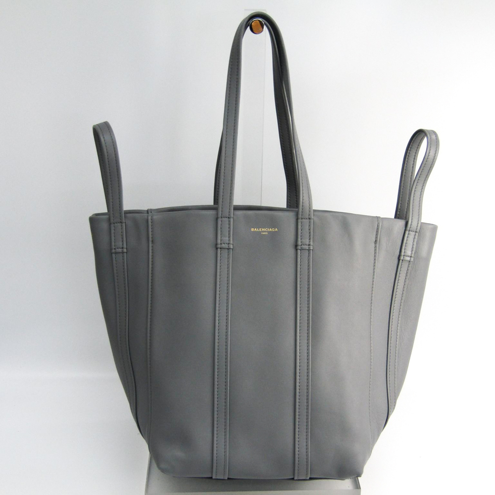 5ae67c4c05 Balenciaga Laundry Cabas S 491634 Women's Leather Tote Bag Gray ...