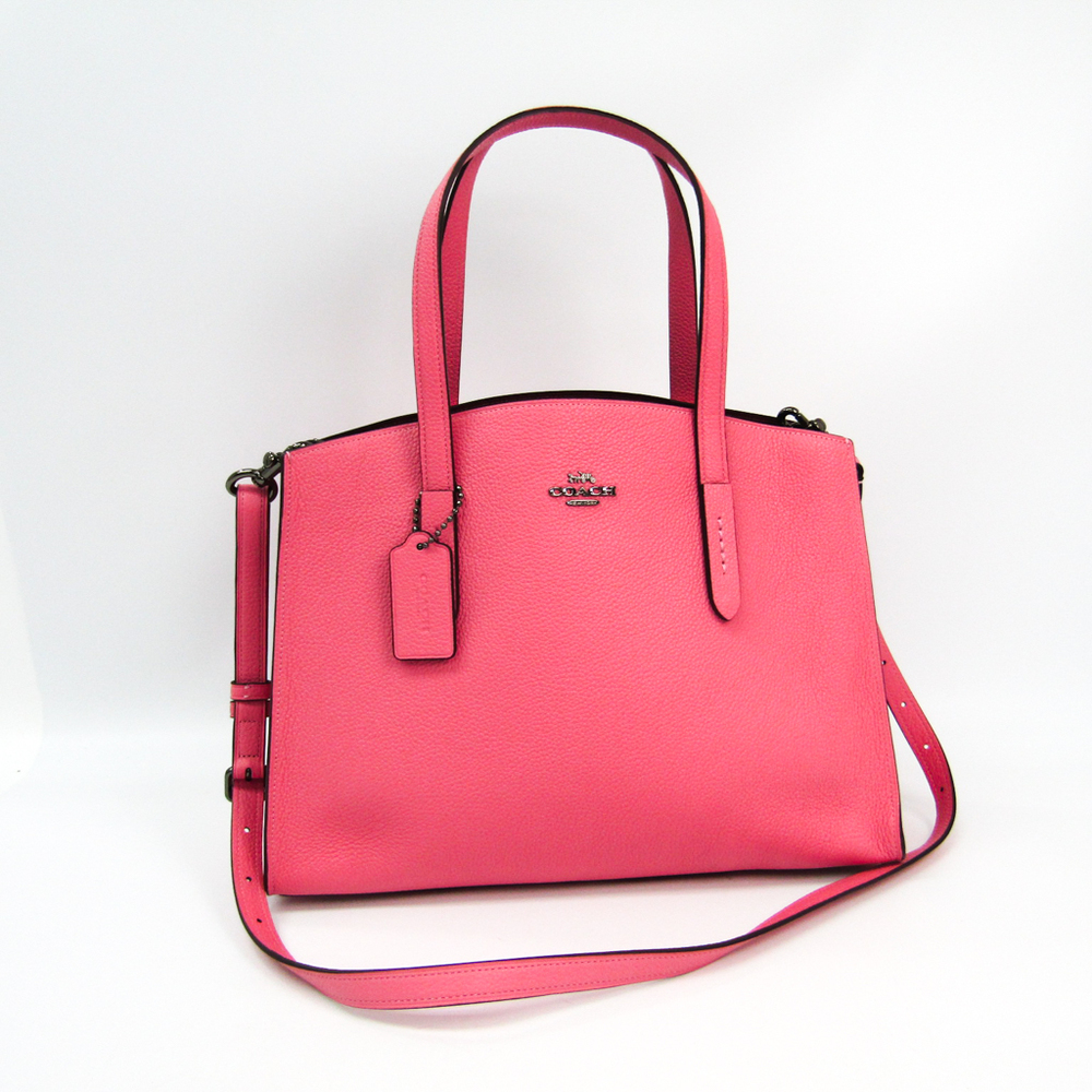 Coach Charlie 25137 Women S Leather Tote Bag Pink Elady