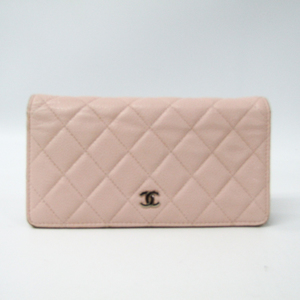 Chanel A31509 Women's Caviar Leather Long Wallet (bi-fold) Light Pink