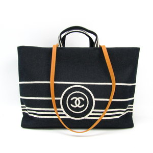 Chanel Coco A922240 Women's Denim,Leather Tote Bag Dark Navy,White