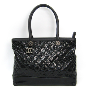 Chanel Women's Leather,Coated Canvas Tote Bag Black