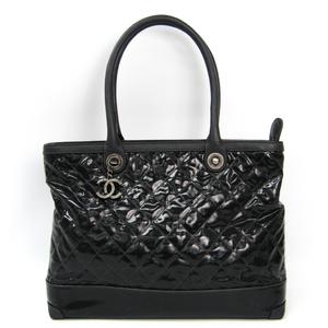 シャネル(Chanel) レディース レザー,コーティングキャンバス トートバッグ ブラック