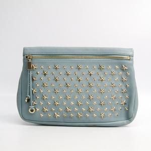 Jimmy Choo ZENA Women's Leather Clutch Bag Light Blue