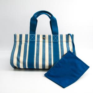 エルメス カンヌMM レディース キャンバス トートバッグ ブルー,ホワイト
