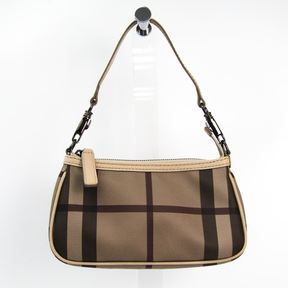 Burberry 3690447 Women's PVC,Leather Handbag Gray Beige,Beige
