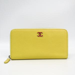 Chanel Women's  Calfskin Long Wallet (bi-fold) Yellow