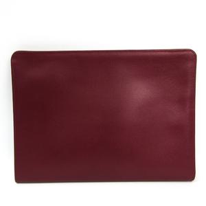 Valextra Women's Leather Clutch Bag Bordeaux