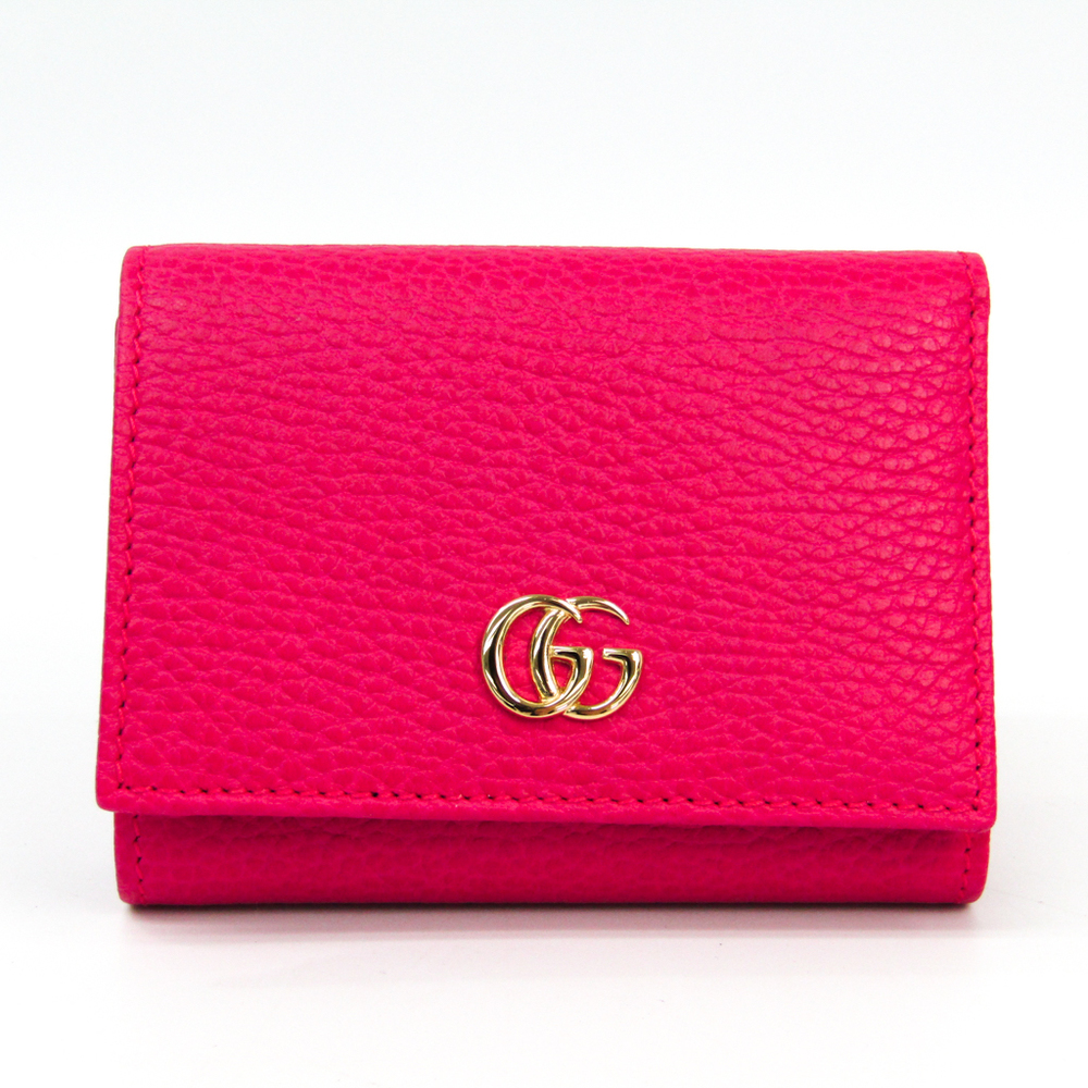 95b6e915f15 Gucci GG Marmont 474746 Women s Leather Wallet (tri-fold) Pink