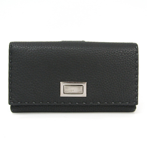 Fendi Selleria 8M0308 Unisex  Calfskin Long Bill Wallet (tri-fold) Dark Gray