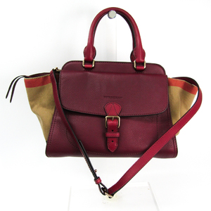 Burberry Women's Leather,Canvas Handbag Bordeaux,Khaki