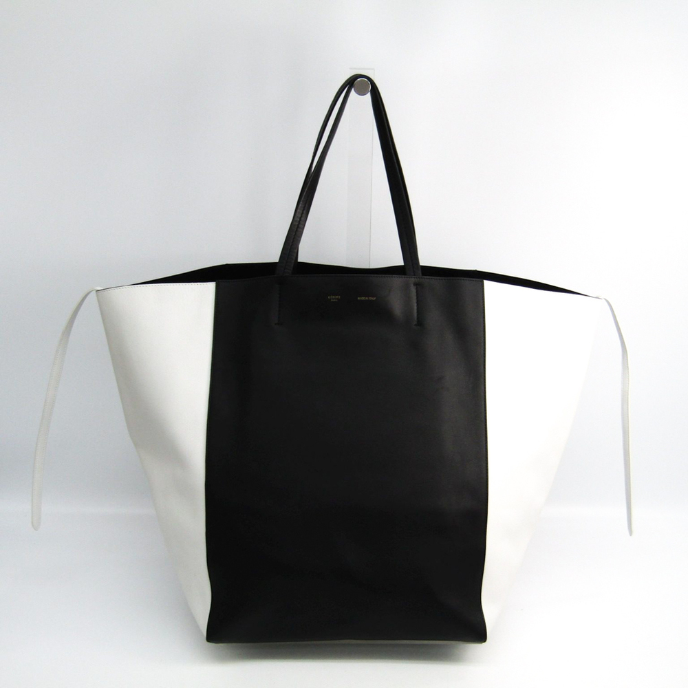 Celine Cabas Cabas Phantom Large Women's Leather Tote Bag Black,White