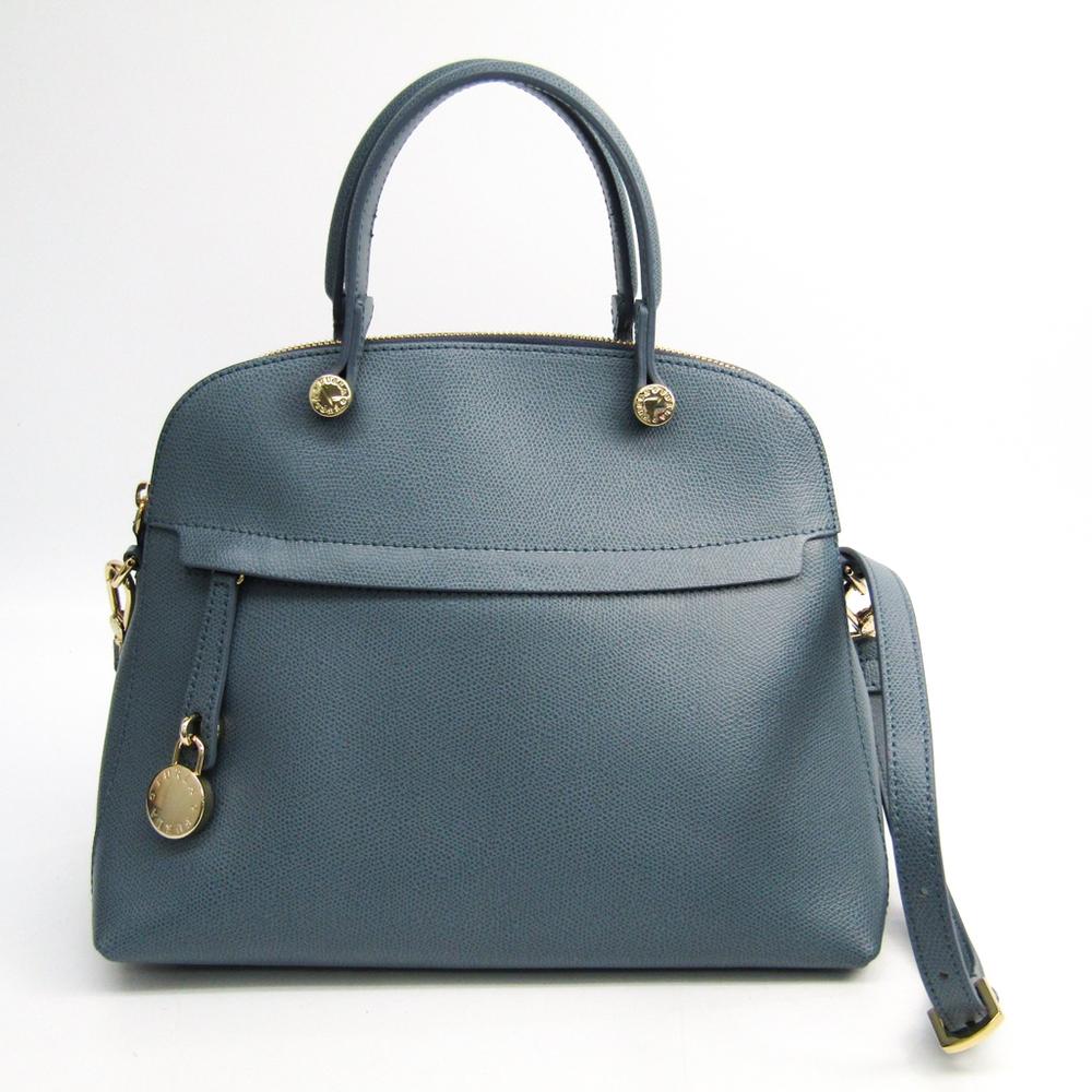 Furla Piper M Leather Handbag Light Blue Gray