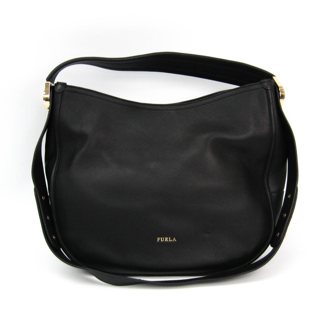 Furla Luna 783066 Women's Leather Shoulder Bag Black