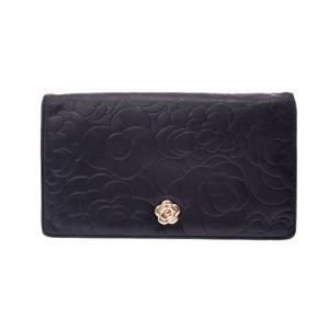 シャネル(Chanel) カメリア レディース  ラムスキン 長財布(二つ折り) ブラック