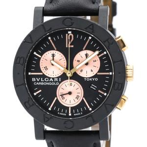 Bvlgari Quartz Carbon,Pink Gold (18K) Unisex Sports Watch BB38CLCH
