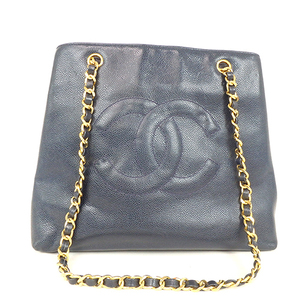 Auth Chanel Caviar Skin Leather Tote Bag