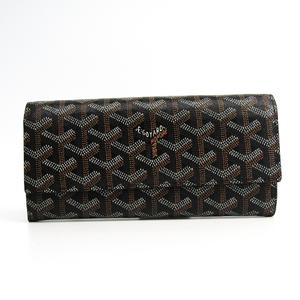 Goyard Varenne Leather,Canvas Long Wallet (bi-fold) Black