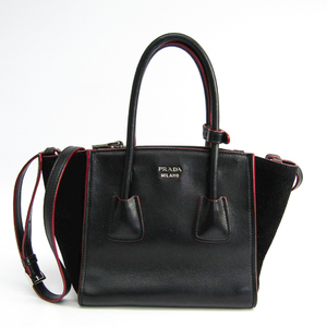 Prada 1BA025 Women's Leather,Suede Handbag Red,Nero