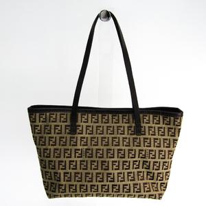 Fendi Zucchino 8BH075 Women's Canvas,Leather Tote Bag Beige,Brown