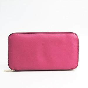 Valextra V9L06 Women's  Calfskin Long Wallet (bi-fold) Pink