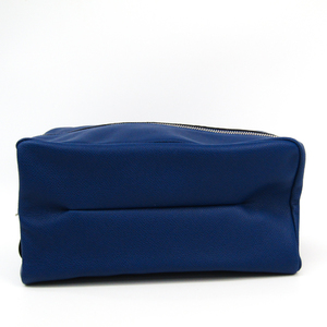 Valextra Large Beauty Case V6A68 Unisex Leather Clutch Bag,Pouch Royal Blue