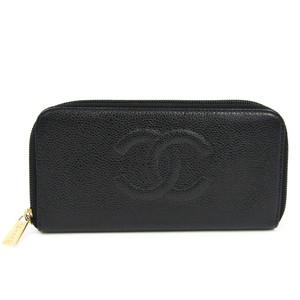 Chanel Round Zip A13228 Women's Caviar Leather Long Wallet (bi-fold) Black