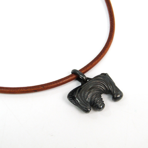 Hermes Leather,Metal Unisex Choker Necklace (Brown,Dark Gray) Zebra