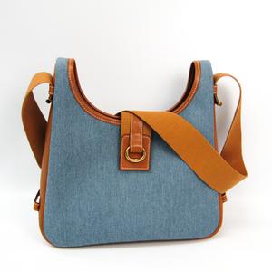 Hermes Sako Women's Canvas,Leather Shoulder Bag Blue,Brown