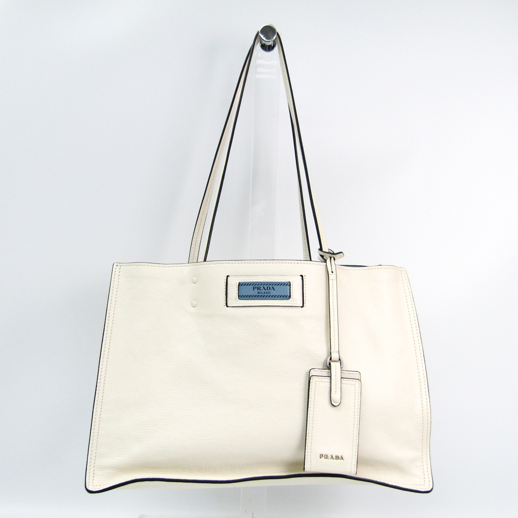339c3d1ae973 Details about Prada ETIQUETTE 1BG122 Women s Leather Tote Bag White BF326195