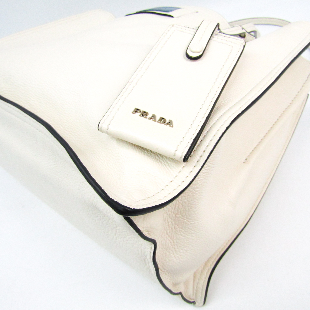 58852fc836ea0a Prada ETIQUETTE 1BG122 Women's Leather Tote Bag White BF326195   eBay