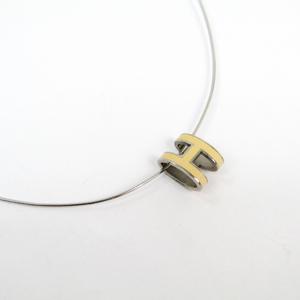 Hermes Pop H Lacquer,Metal Women's Pendant Necklace (Cream)
