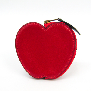 Hermes Apple Women's  Box Calf Leather Coin Purse/coin Case Red
