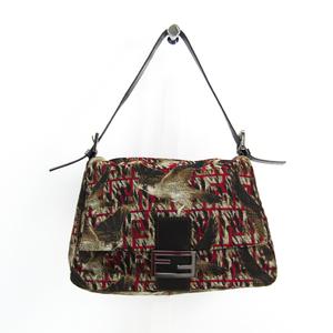 Fendi Zucca Manma Baguette Falcon 8BR001 Women's Canvas,Leather Shoulder Bag Brown,Dark Brown,Red