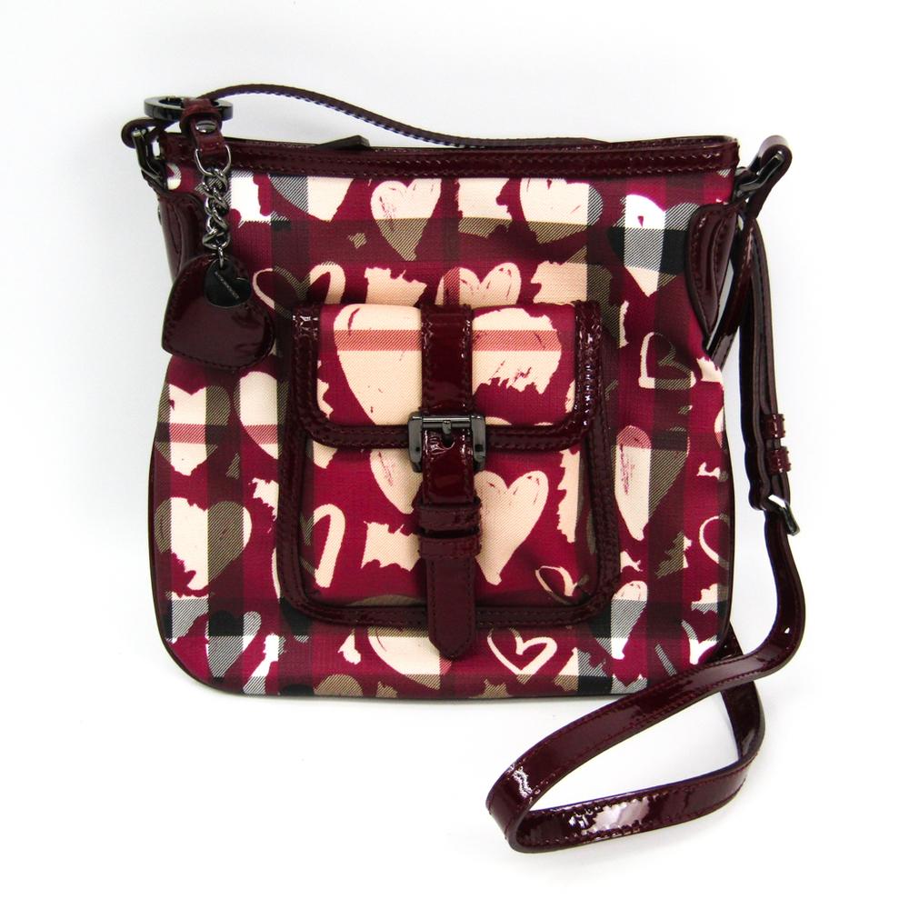 Burberry Women's PVC,Patent Leather Shoulder Bag Bordeaux