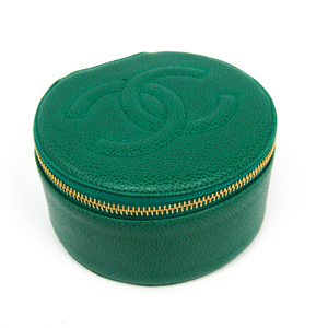 Chanel Jewelry Case Green Caviar leather