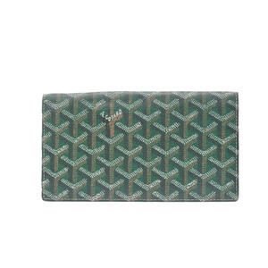 Goyard Richelieu Leather,Canvas Long Wallet (bi-fold) Green