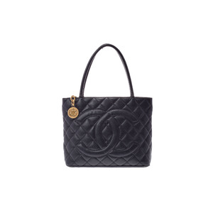 Chanel (Chanel) Reprint Tote Caviar Skin Black G Bracket Bag