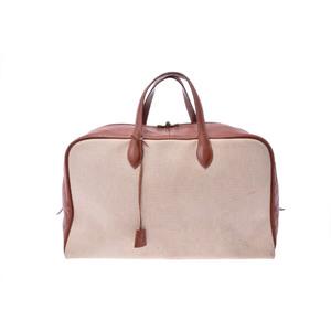 Hermes Victoria 50 Canvas Boston Bag Brown,Natural