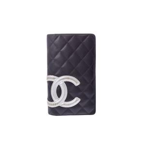 Chanel Cambon Cambon Ligne Long Bill Wallet (bi-fold) Black,Silver