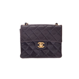 Chanel Matrasse Chain Shoulder Lambskin Black G Fitting 25cm Bag
