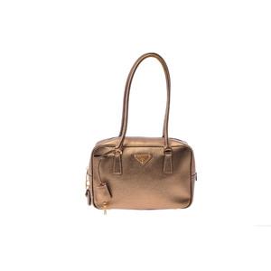 プラダ(Prada) Handbag レザー ハンドバッグ ゴールド